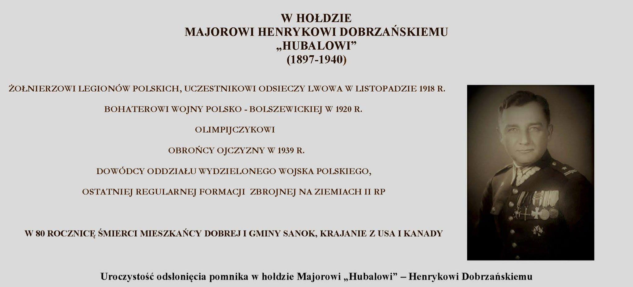 Odsłonięcie pomnika w hołdzie Majorowi Hubalowi - Henrykowi Dobrzańskiemu