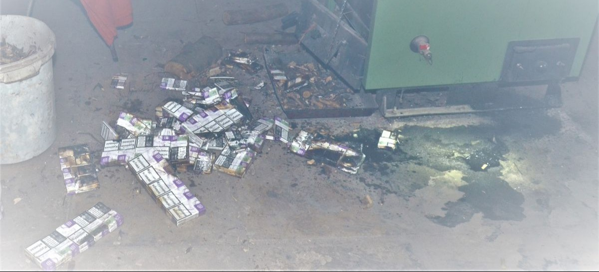 REGION: Nielegalne papierosy poszły z dymem w piecu… (ZDJĘCIA)