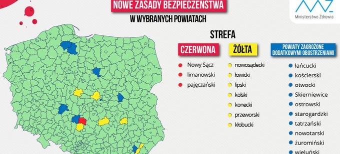Lista powiatów objętych dodatkowymi obostrzeniami – zmiany od jutra(05.09)