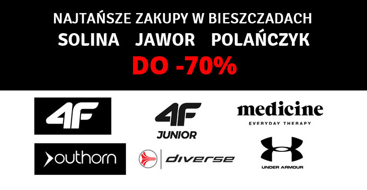 TOTALNA WYPRZEDAŻ do -70% SOLINA – POLAŃCZYK. 4F, 4F JUNIOR, MEDICINE, OUTHORN, DIVERSE, UNDER ARMOUR
