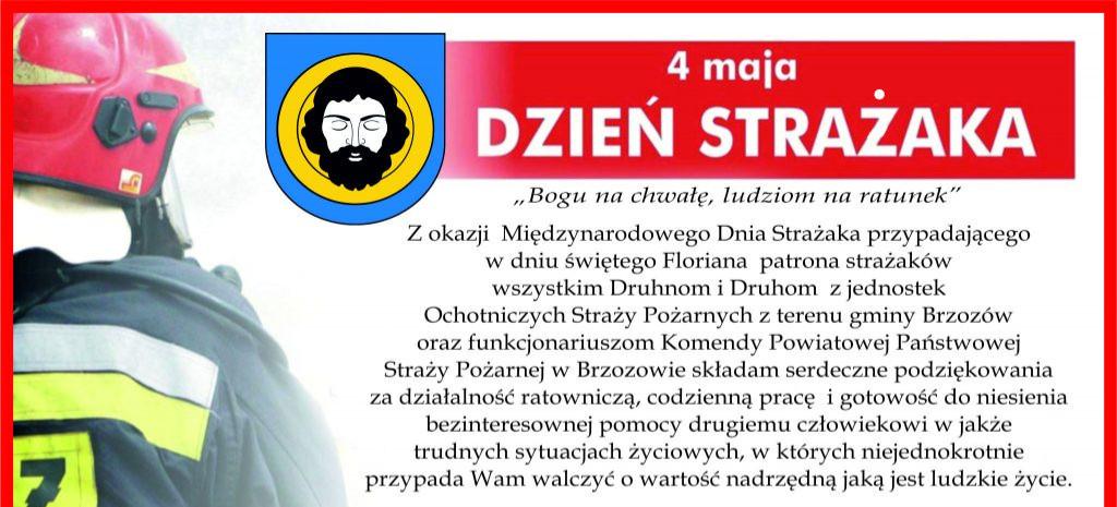 Życzenia burmistrza Brzozowa z okazji Dnia Strażaka