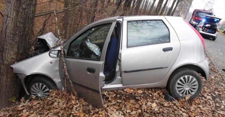 Puntem wjechała w drzewo. 43-latka trafiła do szpitala (FOTO)