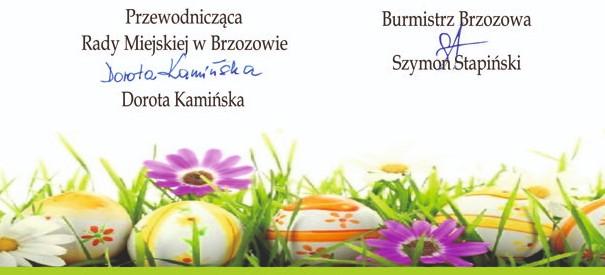 Życzenia Wielkanocne Przewodniczącej Rady i Burmistrza Brzozowa