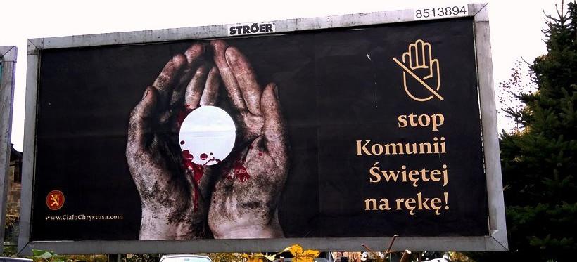 """""""Stop Komunii Świętej na rękę"""". Takie billboardy stanęły w Rzeszowie!"""