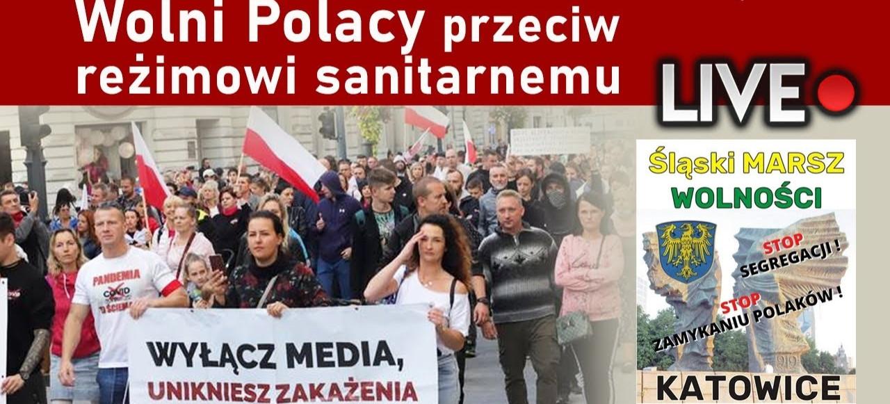 Wolni Polacy przeciw reżimowi sanitarnemu. WIELKI MARSZ O WOLNOŚĆ! LIVE!