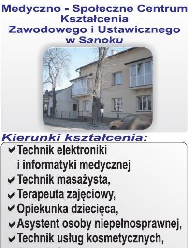 """Sanocki """"MEDYK"""" – bogaty wybór kierunków kształcenia, bezpłatna nauka!"""