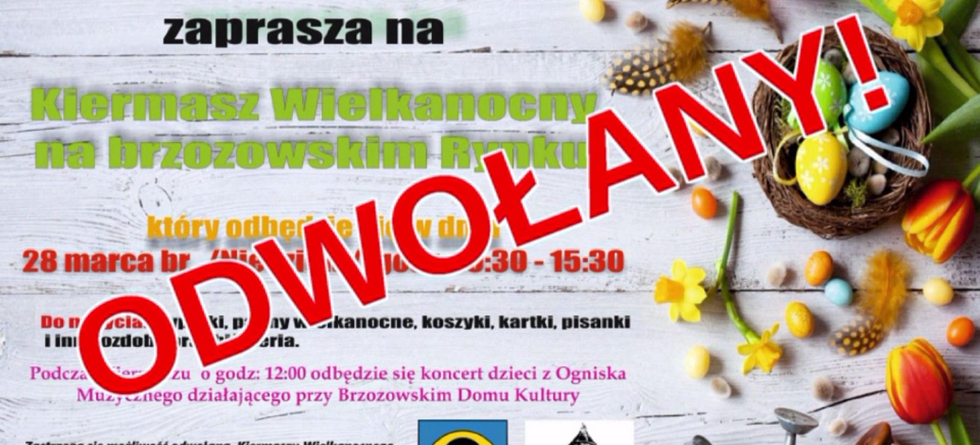 BRZOZÓW: Kiermasz Wielkanocny zostaje odwołany!