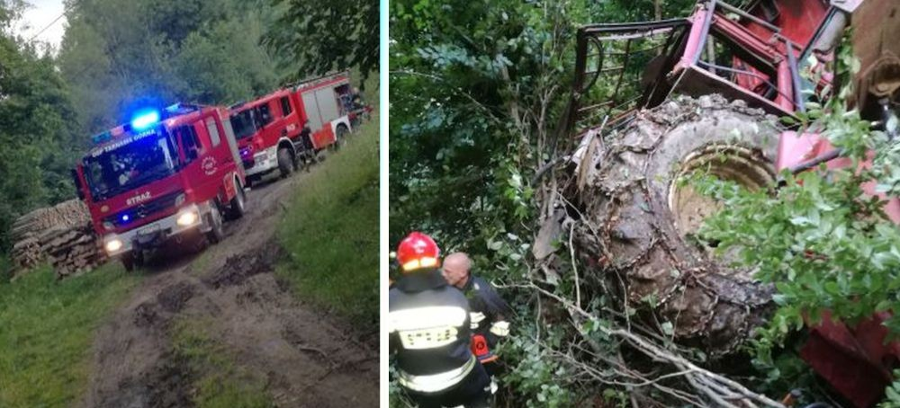 Wypadek w lesie. Poszkodowani trafili do szpitali w Sanoku, Krośnie i Lesku. Ich obrażenia są poważne (FOTO)