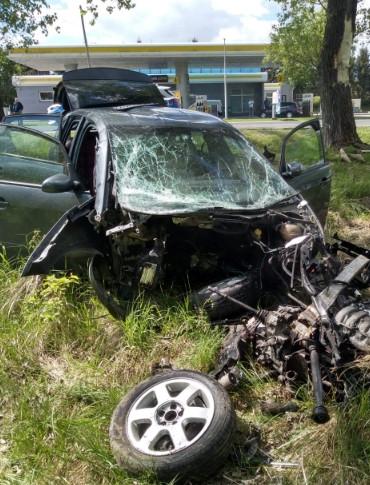 Samochód uderzył w drzewo. Z pojazdu wypadł silnik! (ZDJĘCIA)