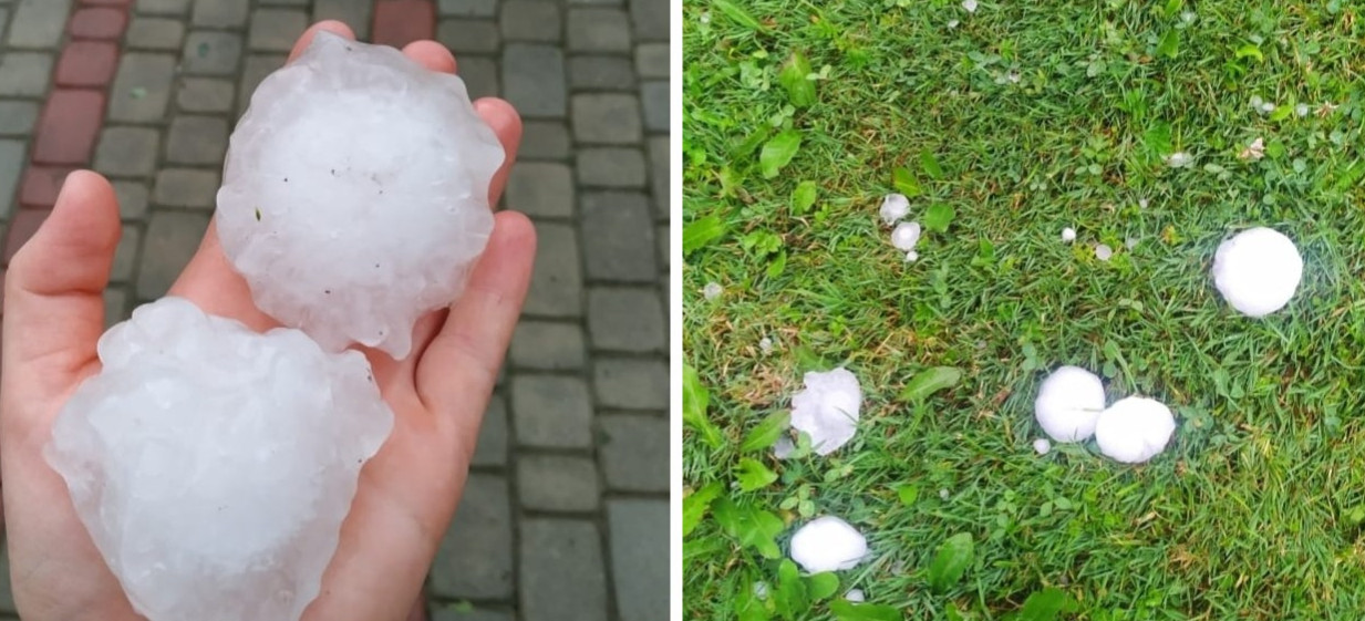 Potężna burza i grad wielkości kurzych jaj (ZDJĘCIA)