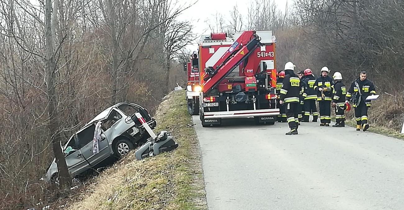 ZARSZYN: Auto uderzyło w drzewo. Zakleszczona osoba (FOTO)