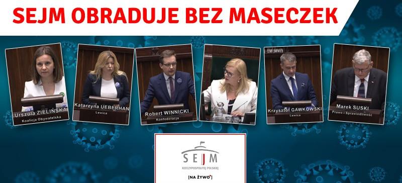 Posłowie bez maseczek! Nie muszą? Zobacz transmisję z Sejmu (VIDEO, LIVE)