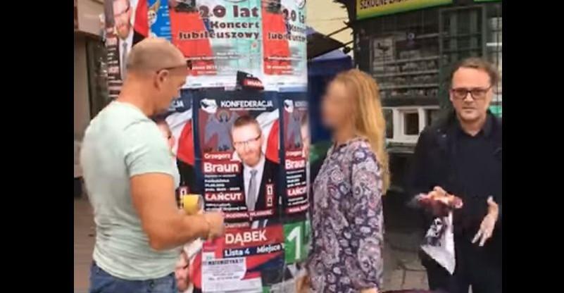 Przewodniczący rady miasta zrywał plakaty wyborcze. Zaatakował filmującego to zajście (VIDEO)