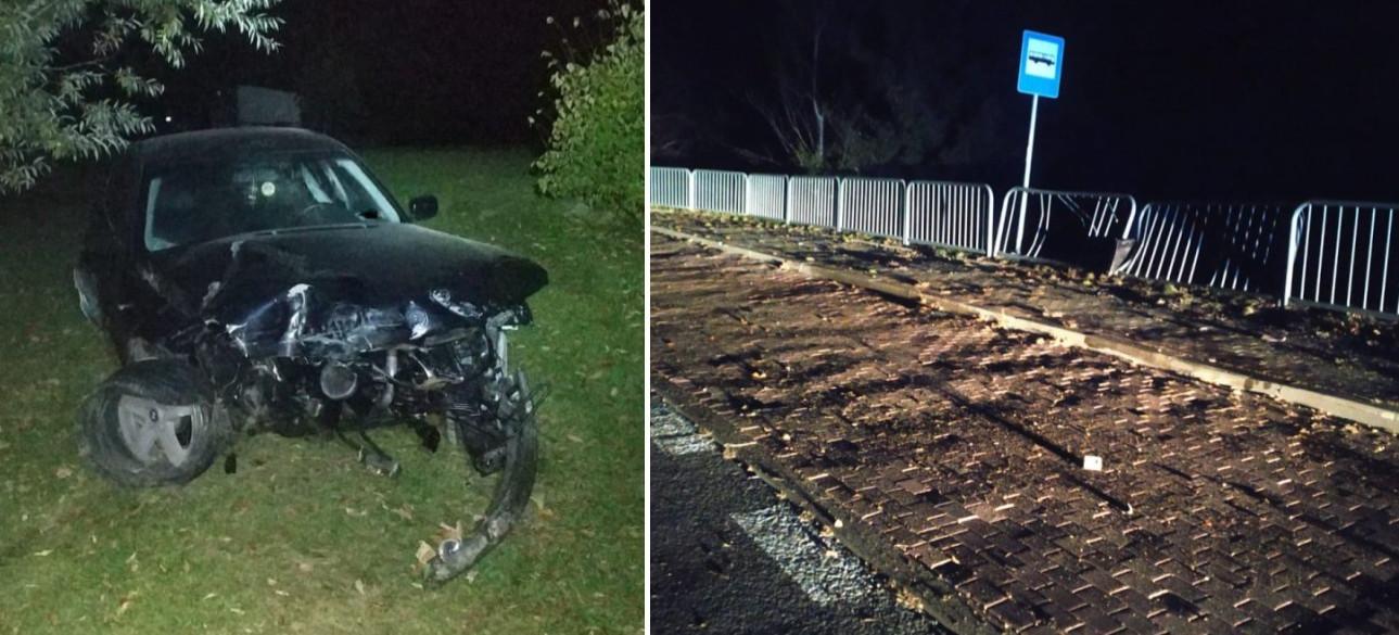 Kierowca BMW staranował barierki i uciekł! Był pijany (ZDJĘCIA)