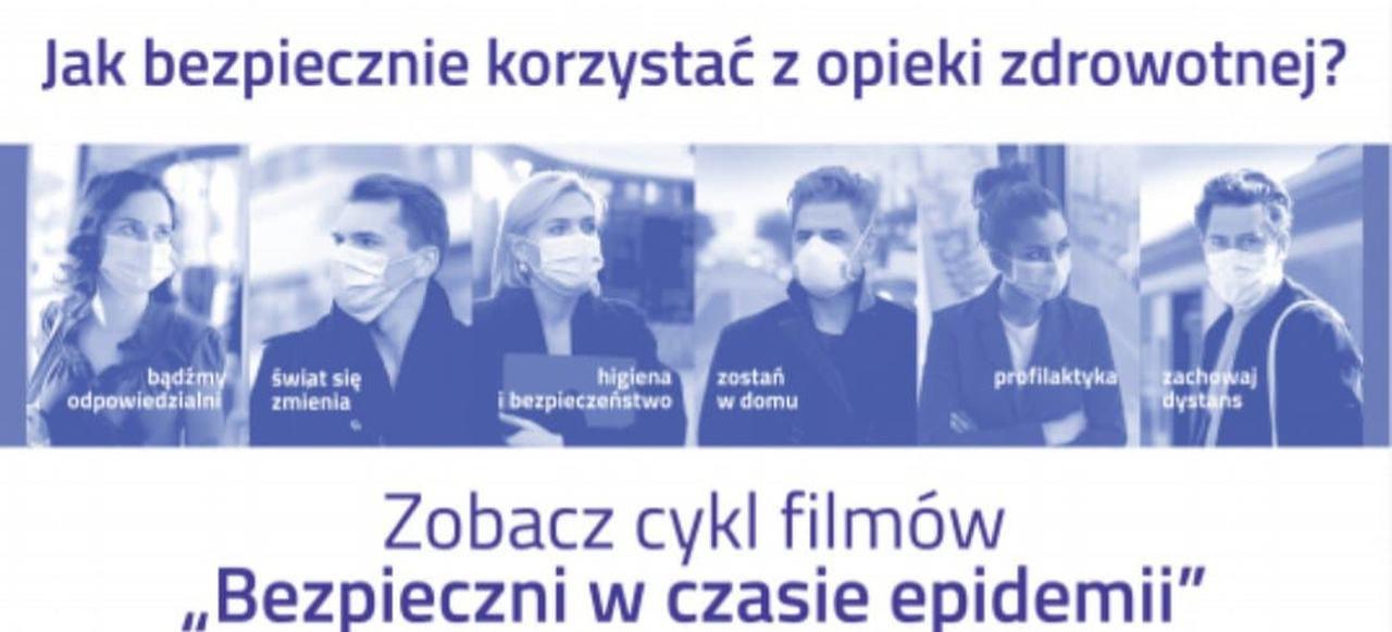 """Cyklu filmów edukacyjnych NFZ –  """"Bezpieczni w czasie epidemii"""""""