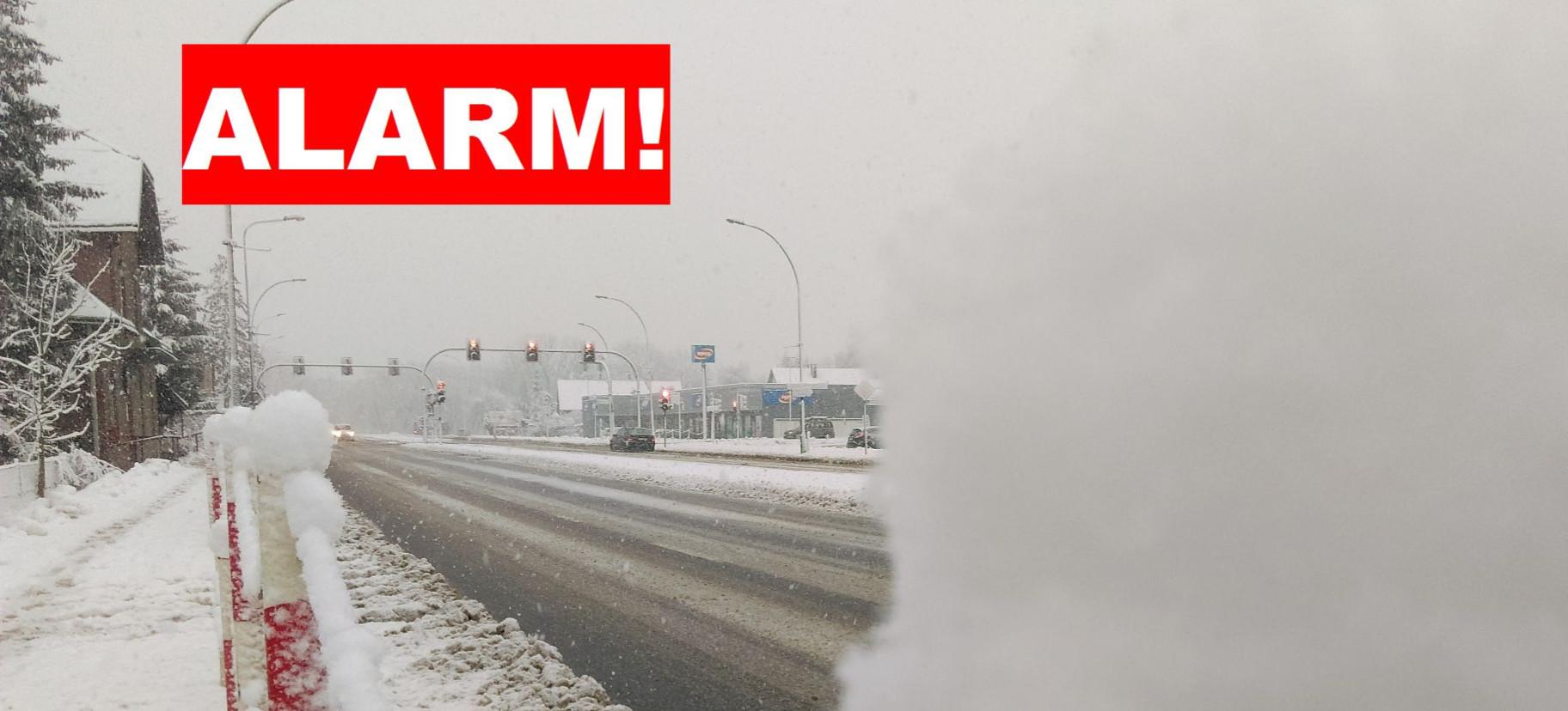Aktualizacja alertu! Intensywne opady śniegu jeszcze w nocy!
