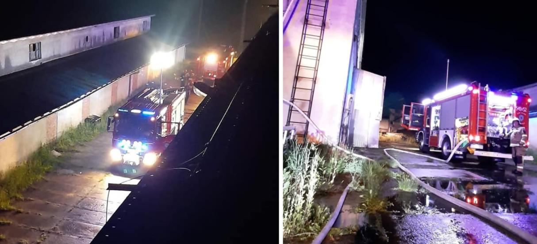 Pożar dachu w zakładzie produkcyjnym w Zagórzu (ZDJĘCIA)