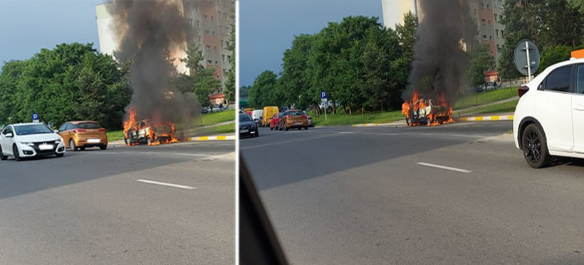 RZESZÓW. Pożar samochodu na ulicy Ofiar Katynia! (FOTO)