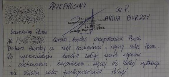 38-latek przysłał do policjanta list z przeprosinami