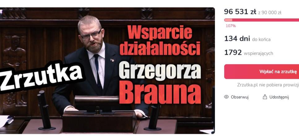 Polacy MUREM za Braunem! W dwa dni zebrano PONAD 90 tys. złotych