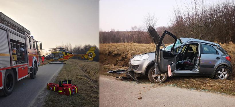 Wypadek w Błażowej Dolnej. Jedna osoba ranna, na miejscu śmigłowiec LPR! (FOTO)