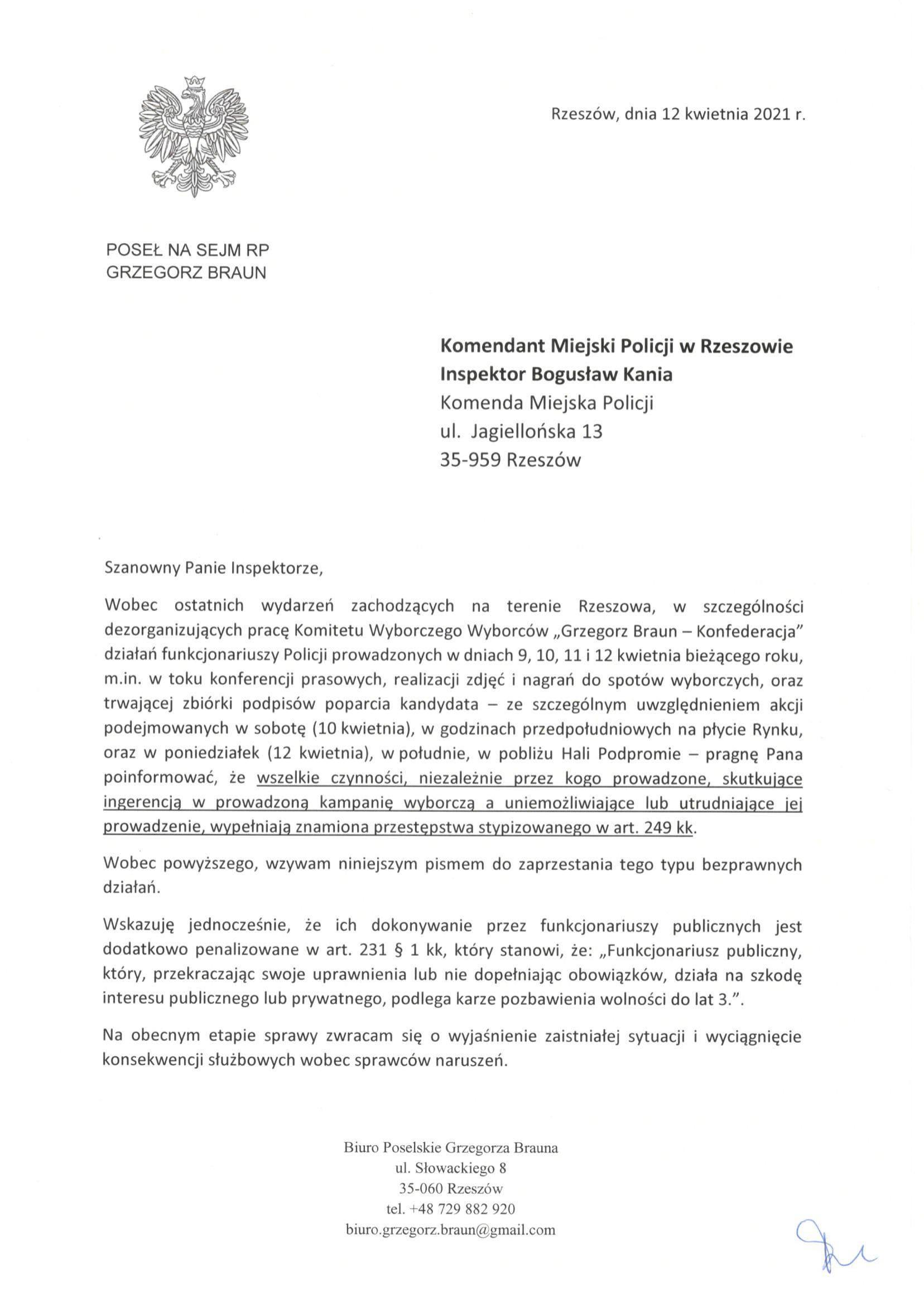 Pismo do KMP Rzeszów-1