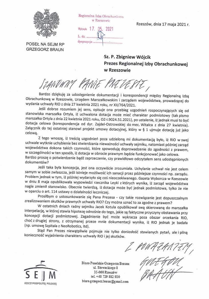 Pismo do Prezesa RIO z 17 maja-1