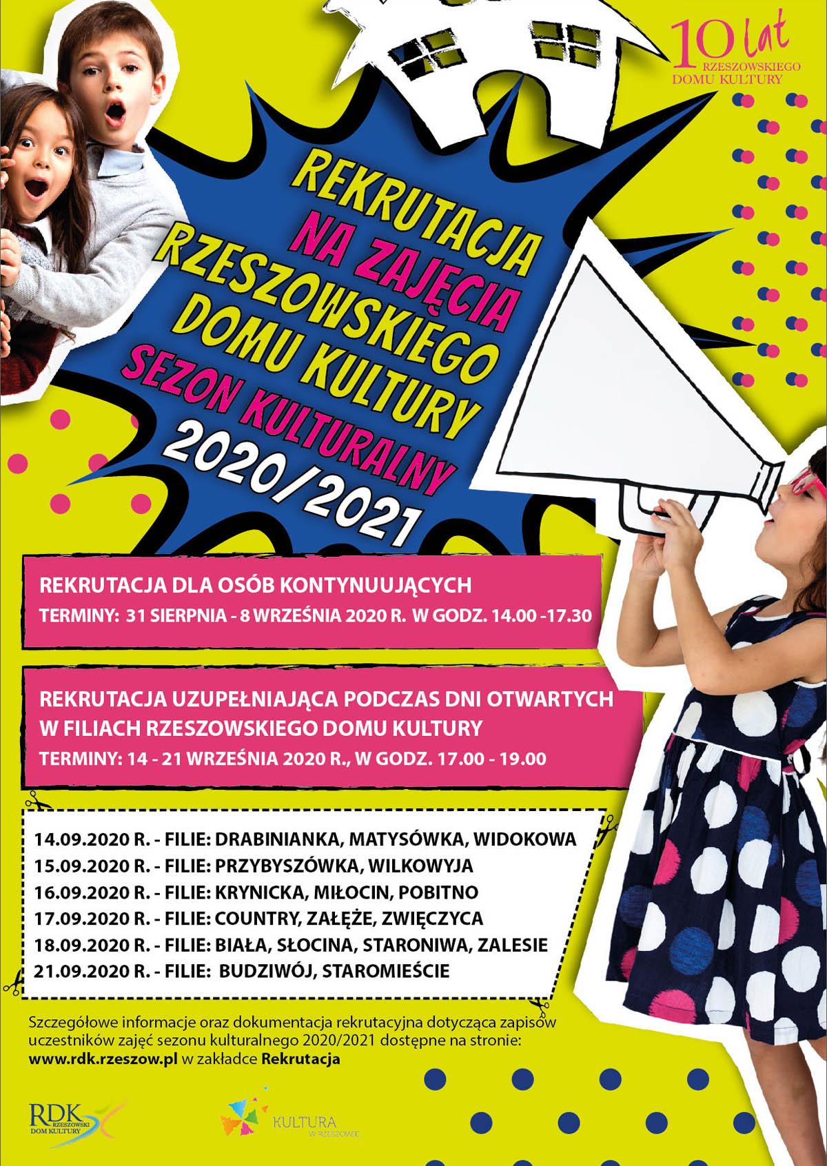 Plakat - Rekrutacja w Rzeszowskim Domu Kultury