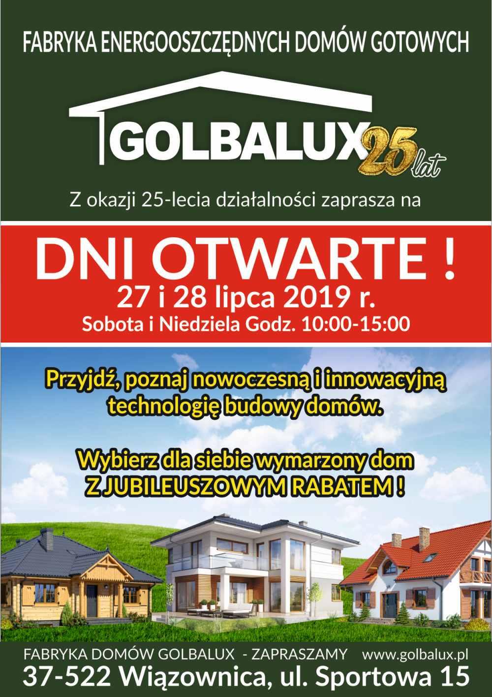 Zaproszenie dni otwarte Fabryka domów Golbalux